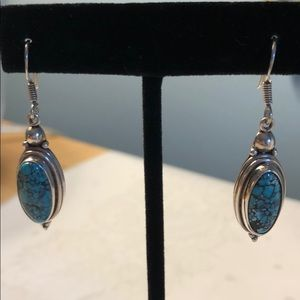 925 Silver and Blue Stone Earrings